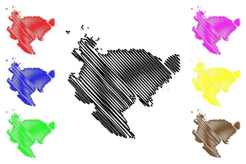 Saga-Präfekturkartenvektor vektor abbildung