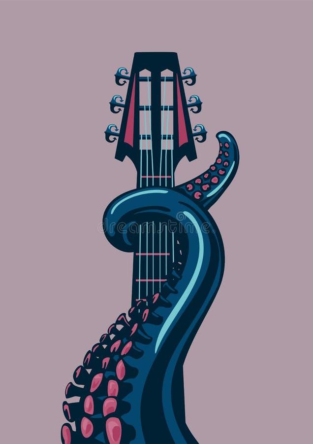Sagacidade do polvo uma guitarra ilustração royalty free