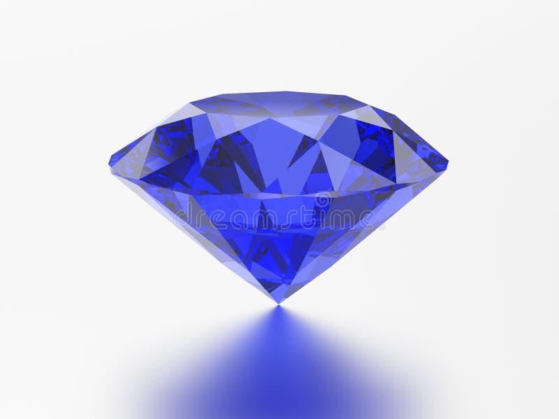 sagacidade redonda esmeralda azul de pedra preciosa da safira do diamante da ilustração 3D ilustração royalty free