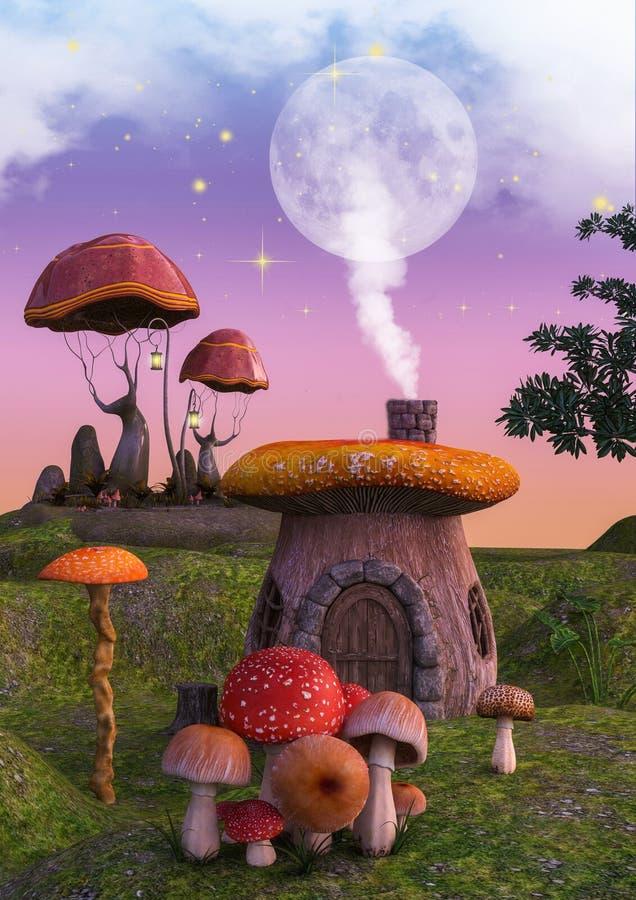 Sagafantasiland mycket av champinjoner och plocka svamp hus royaltyfri illustrationer