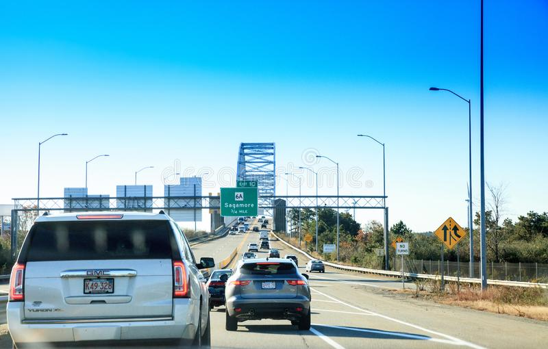 Sagamore Bridge in Bourne, Massachusetts on the highway headed toward the City of Boston. Bourne, Massachusetts, USA – November 10, 2019: Sagamore Bridge stock photo
