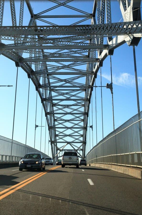 Sagamore Bridge in Bourne, Massachusetts on the highway headed toward the City of Boston. Bourne, Massachusetts, USA – November 10, 2019: Sagamore Bridge stock images