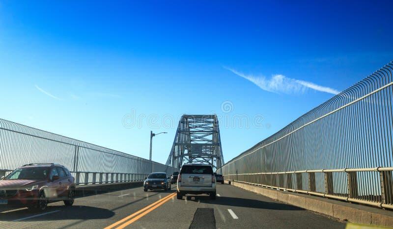 Sagamore Bridge in Bourne, Massachusetts on the highway headed toward the City of Boston. Bourne, Massachusetts, USA – November 10, 2019: Sagamore Bridge stock photography