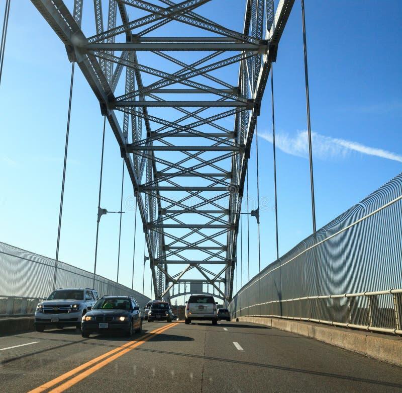 Sagamore Bridge i Bourne, Massachusetts på motorvägen mot staden Boston arkivfoto