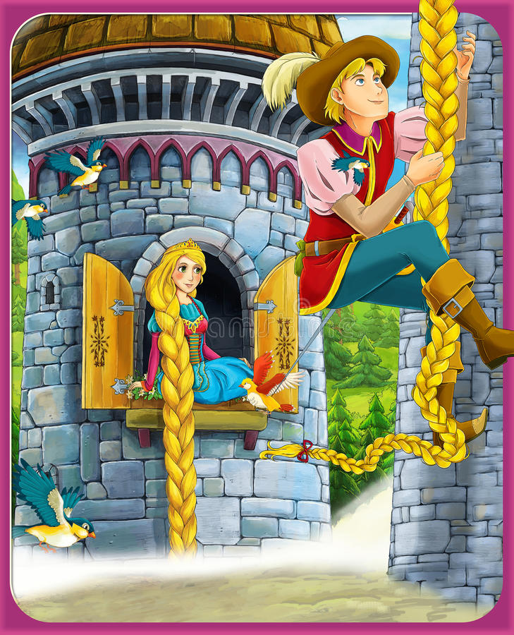 Sagan - härlig Manga stil - illustration för barnen stock illustrationer