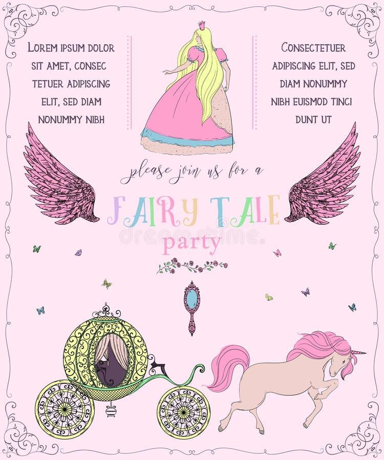 Sagapartiinbjudan med prinsessan, enhörningen, vagnen, spegeln, ängelvingar, rosor och fjärilar Sagatema vektor illustrationer