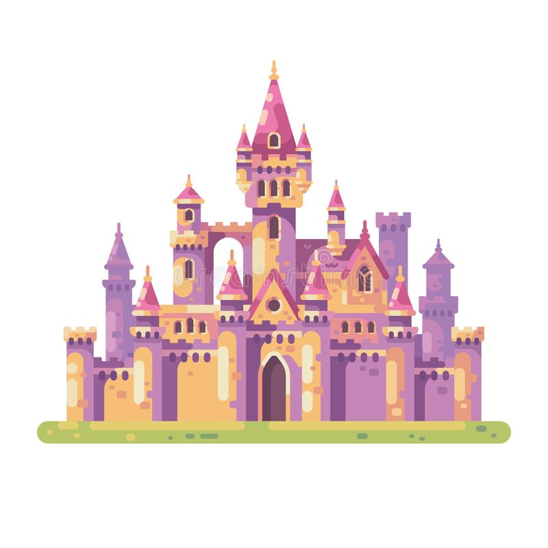 Sagaprinsessa Castle Medeltida illustration för slottlägenhetvektor vektor illustrationer
