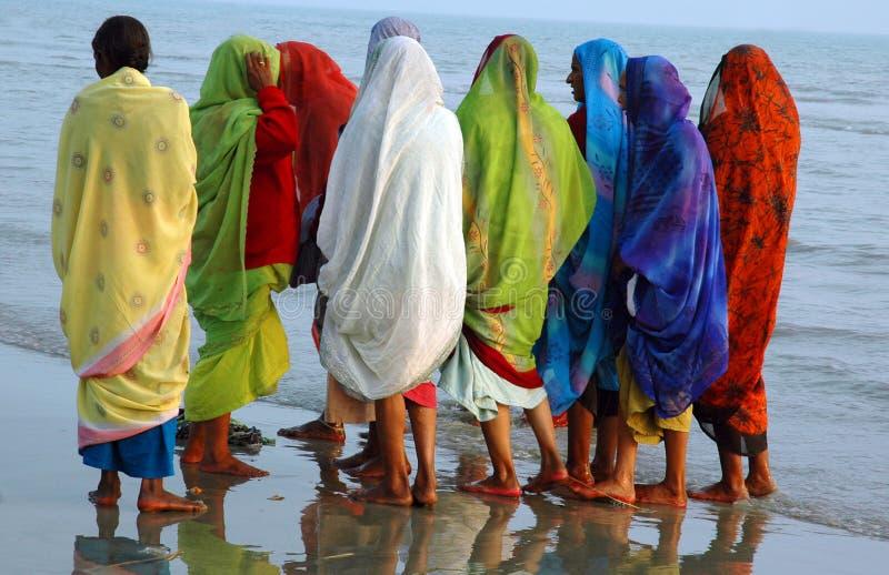 sagar hinduisk pilgrimsfärd för ganska ganga royaltyfri fotografi