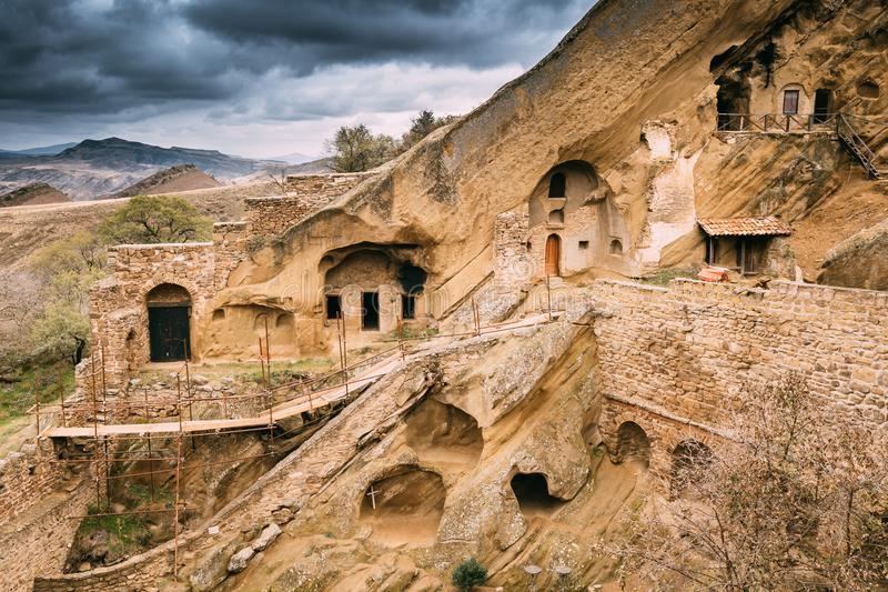 Sagarejogemeente, Kakheti-gebied, Georgië Oud rots-Gehouwen Georgisch Orthodox David Gareja Monastery Complex royalty-vrije stock afbeelding