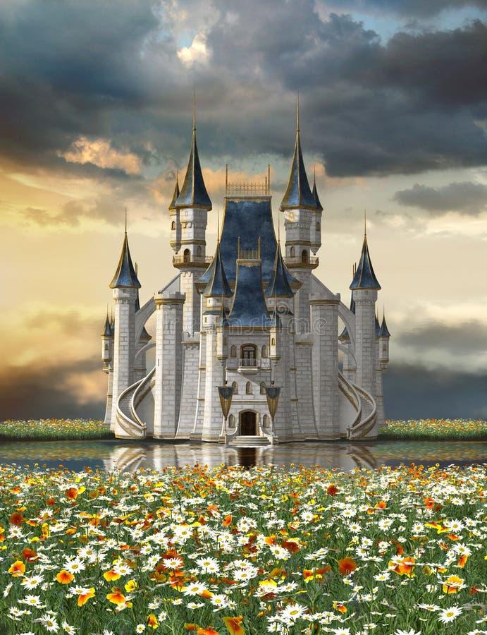 Sagaslott på en sjö i ett hav av blommor royaltyfri illustrationer