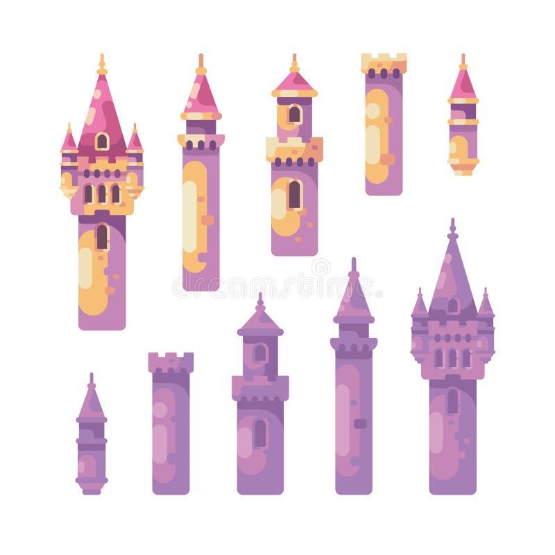 Sagaslottkonstruktör Uppsättning av medeltida slotttorn vektor illustrationer