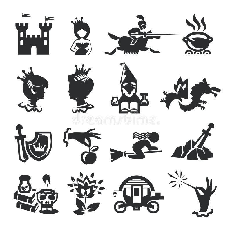 Sagasymboler royaltyfri illustrationer