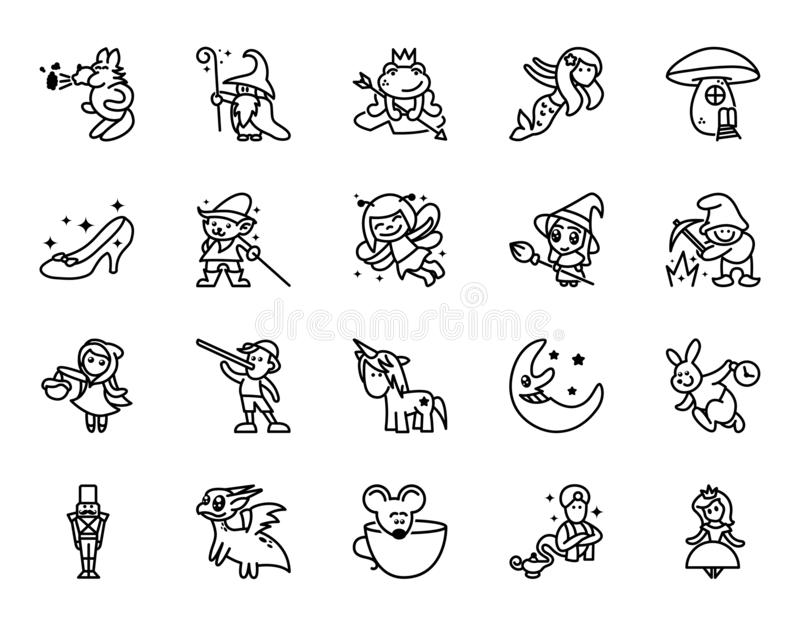 Sagasymbolsupps?ttning Ställ in av den släkta vektorlinjen symboler för fantasin Ställ in av 20 minsta fabelsymboler royaltyfri illustrationer