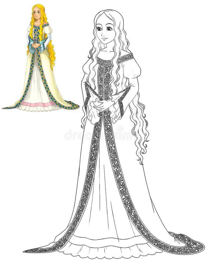 Sagatecknad filmtecken - prinsessa stock illustrationer