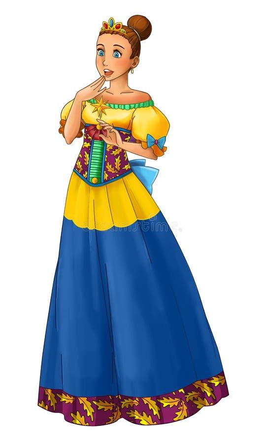 Sagatecknad filmtecken - prinsessa royaltyfri illustrationer