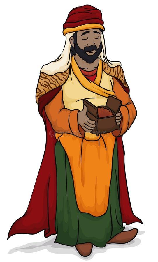Sage Balthazar Holding Myrrh pour le bébé Jésus dans l'épiphanie, illustration de vecteur illustration stock