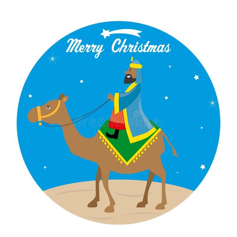 Sage Balthazar sur un chameau illustration libre de droits
