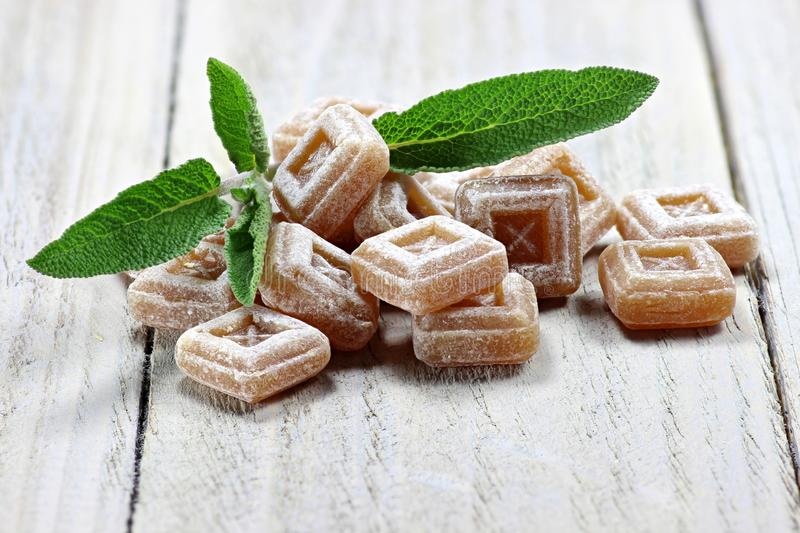 Sage candies. On wooden background stock image