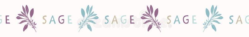 Sage Leaf Seamless Vector Border macchiantesi sacro Pianta spirituale disegnata a mano royalty illustrazione gratis