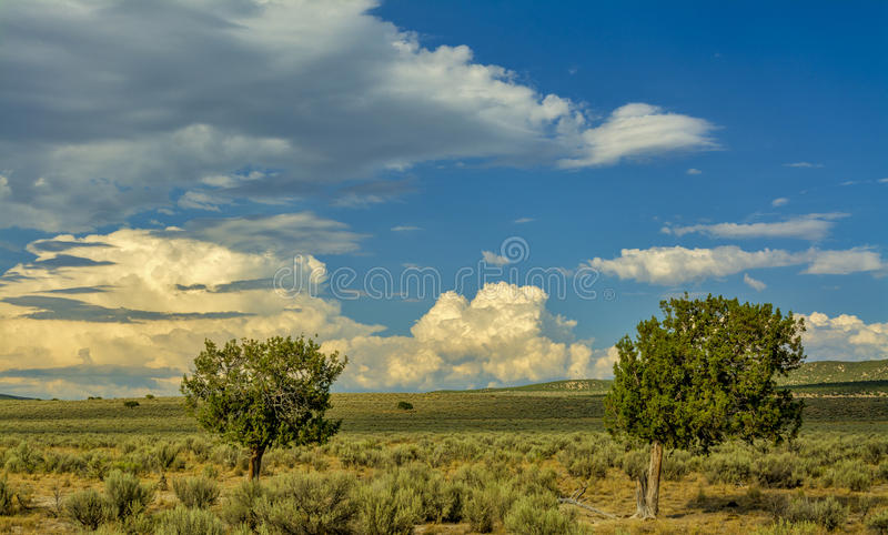 Sagebrush desert in southern Idaho with dramatic clouds royalty free stock photography