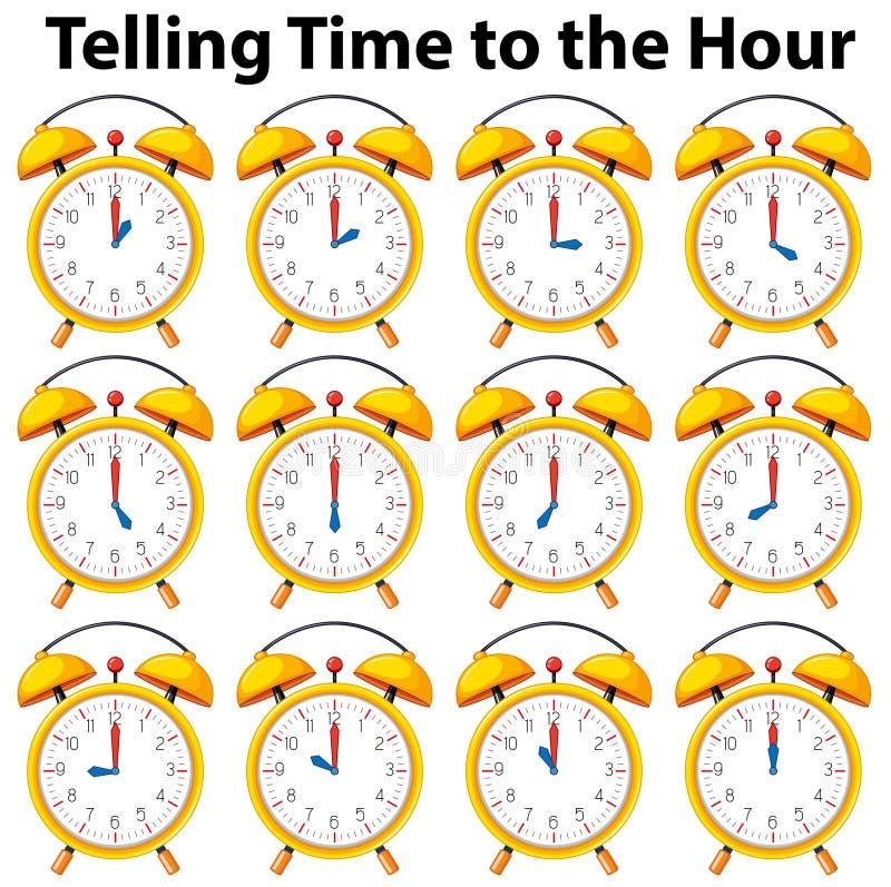Sagen von Zeit zur Stunde auf gelber Uhr vektor abbildung