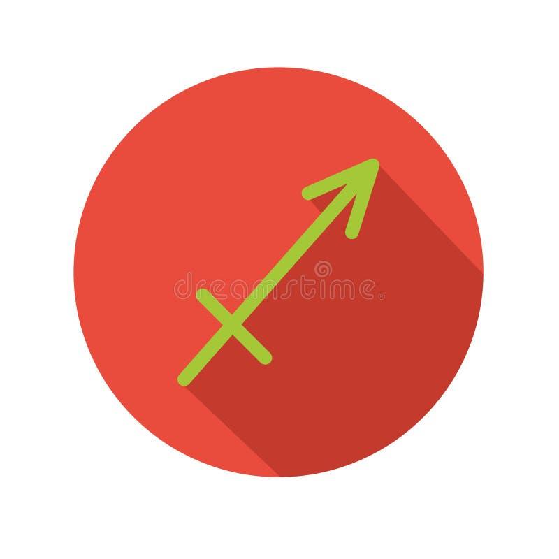 Saggitarius Классический астрологический знак зодиака Значок вектора в плоском стиле с длинной тенью иллюстрация штока
