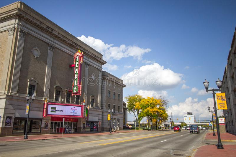 Downtown Saginaw Michigan Temple Theater. Saginaw, Michigan, USA - October 9, 2018: The streets of downtown Saginaw, Michigan with the historic Temple Theater in stock photo