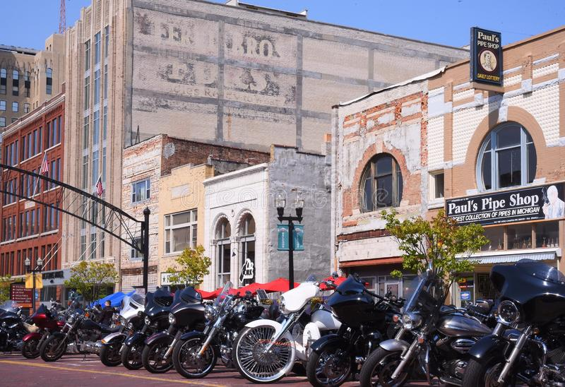 Motorcycles `Back on the Bricks` in Flint, Michigan. Saginaw Street inundated with a thousand motorcycles every weekend after Labor Day in downtown Flint stock photography