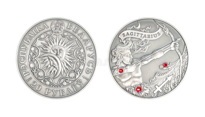 Sagitário astrológico do sinal da moeda de prata imagens de stock