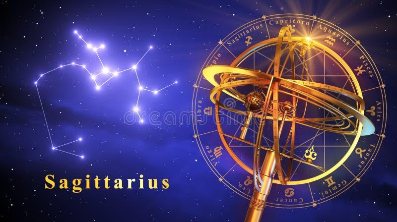 Sagitário da esfera Armillary e da constelação sobre o fundo azul ilustração royalty free