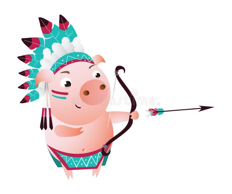 Sagitário do porco do zodíaco Símbolo chinês do horóscopo 2019 anos ilustração stock