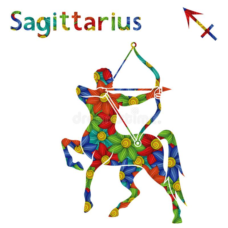 Sagitário do sinal do zodíaco com flores estilizados ilustração do vetor