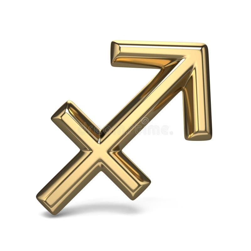 SAGITARIO de oro 3D de la muestra del zodiaco stock de ilustración