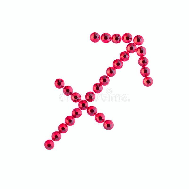 sagitario Muestra del zodiaco de diamantes artificiales rojos en vagos blancos imagen de archivo libre de regalías