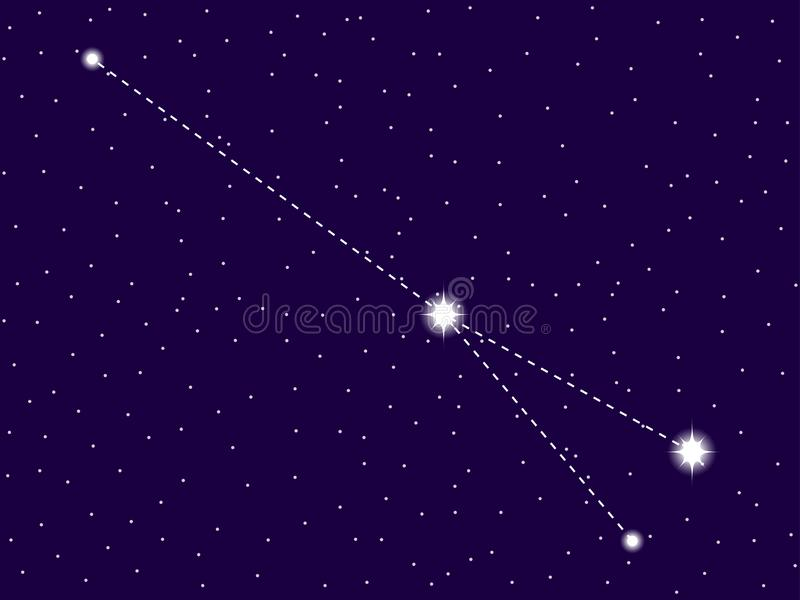 Sagitta constellation. Starry night sky. Zodiac sign. Cluster of stars and galaxies. Deep space. Vector. Illustration stock illustration
