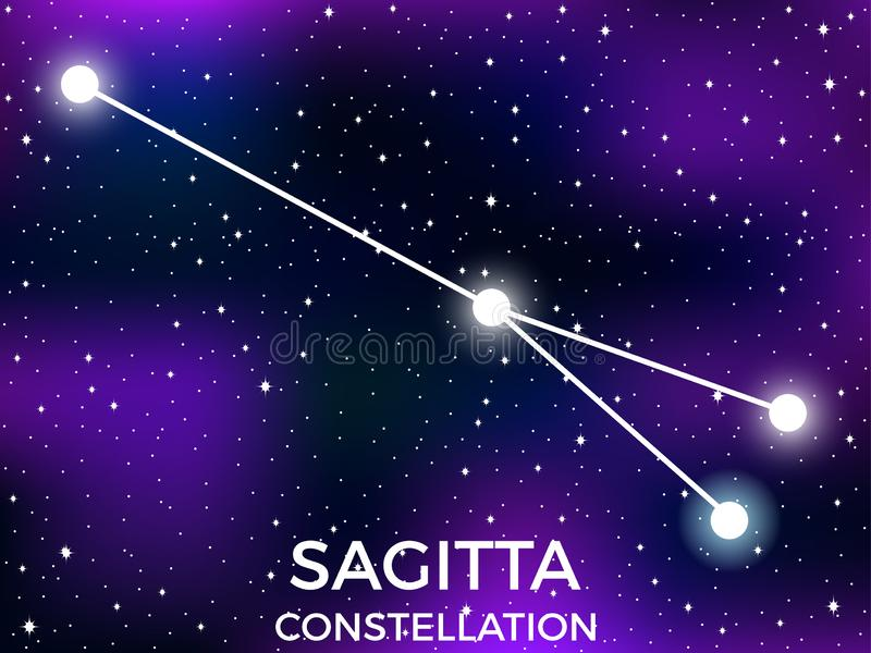 Sagitta constellation. Starry night sky. Zodiac sign. Cluster of stars and galaxies. Deep space. Vector. Illustration royalty free illustration