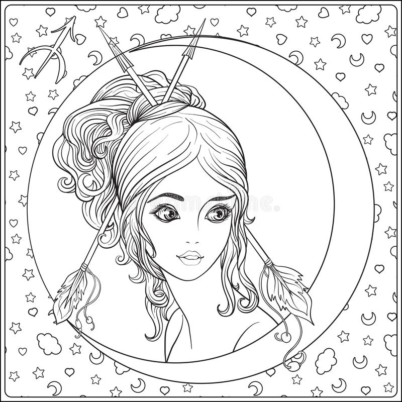 Sagittaire, archer Une jeune belle fille sous forme d'une illustration de vecteur