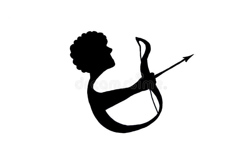 Sagittaire d'illustration de signe de zodiaque Croquis pour le tatouage illustration de vecteur