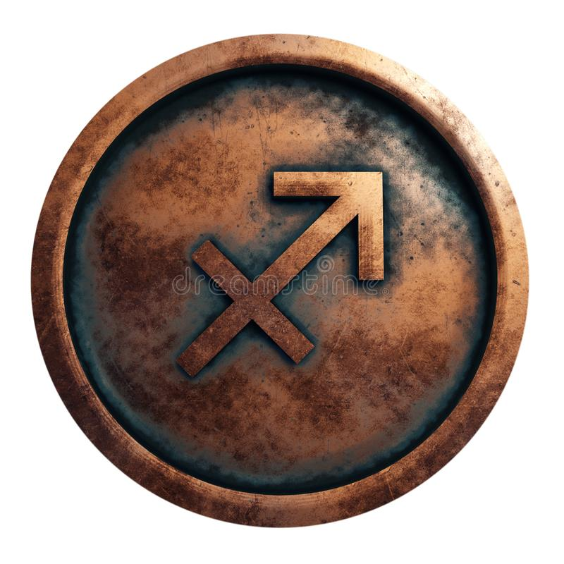Sagittaire de signe d'horoscope en cercle de cuivre photos libres de droits