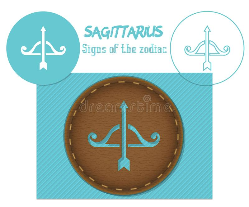 sagittaire Signes du zodiaque Coupe de Lazenaya Il peut être employé pour la coupe de laser du bois, cuir, papier, carton, plasti illustration de vecteur