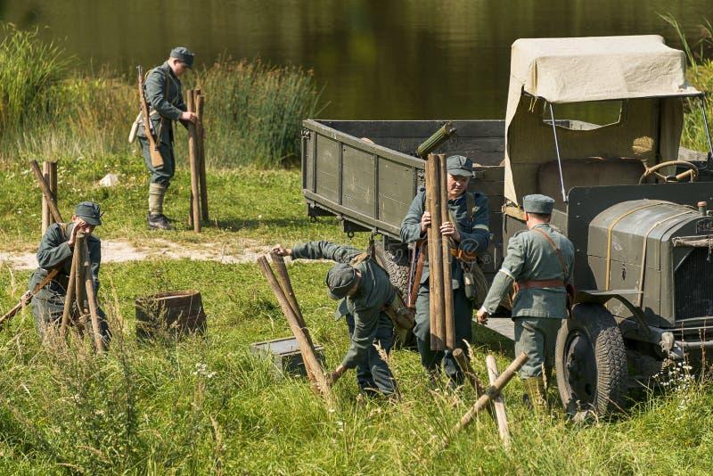 Sagittarians equip the line of defense stock photos