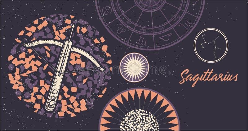 Sagittario del segno dello zodiaco Il simbolo dell'oroscopo astrologico Fronte delle donne disegnate a mano di illustration Inseg royalty illustrazione gratis