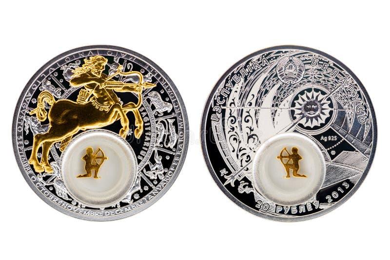 Sagittario di astrologia della moneta d'argento della Bielorussia immagine stock libera da diritti