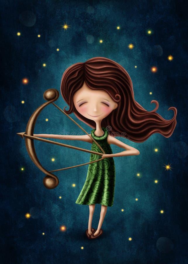 Sagittarius astrological sign girl. Illustration with a sagittarius astrological sign girl vector illustration