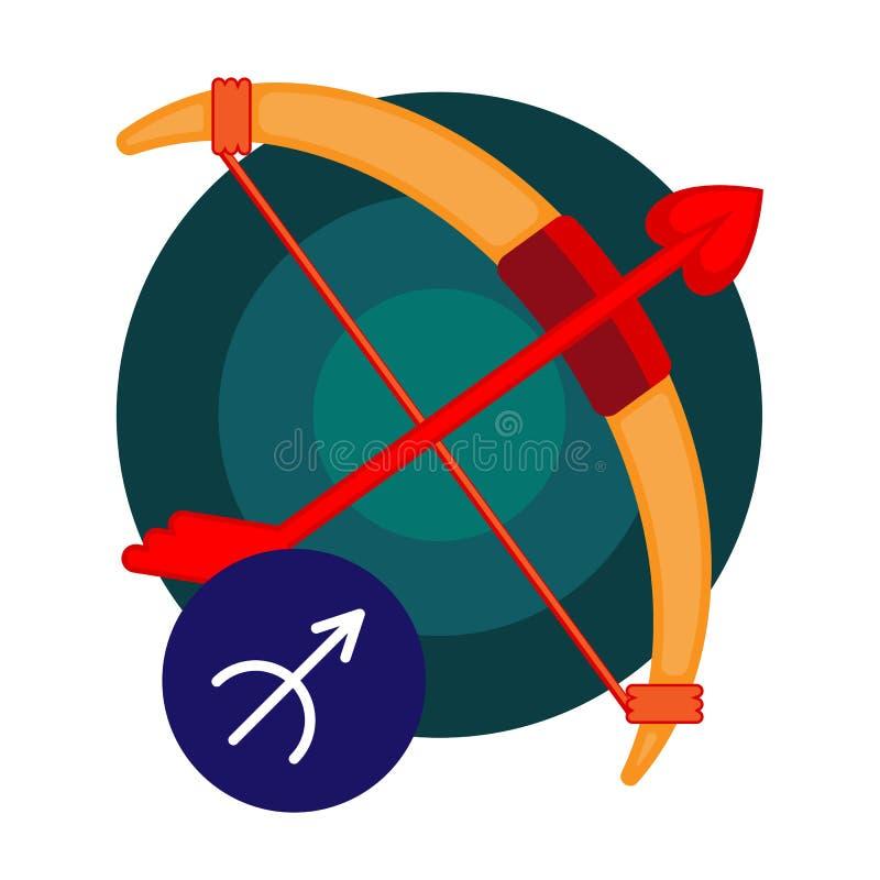 Sagittarius astrologii znak odizolowywający na bielu Horoskopu zodiaka symbol ilustracja wektor