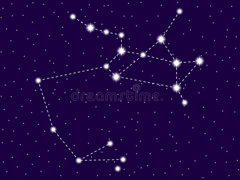 Sagittarius constellation. Starry night sky. Zodiac sign. Cluster of stars and galaxies. Deep space. Vector. Illustration stock illustration