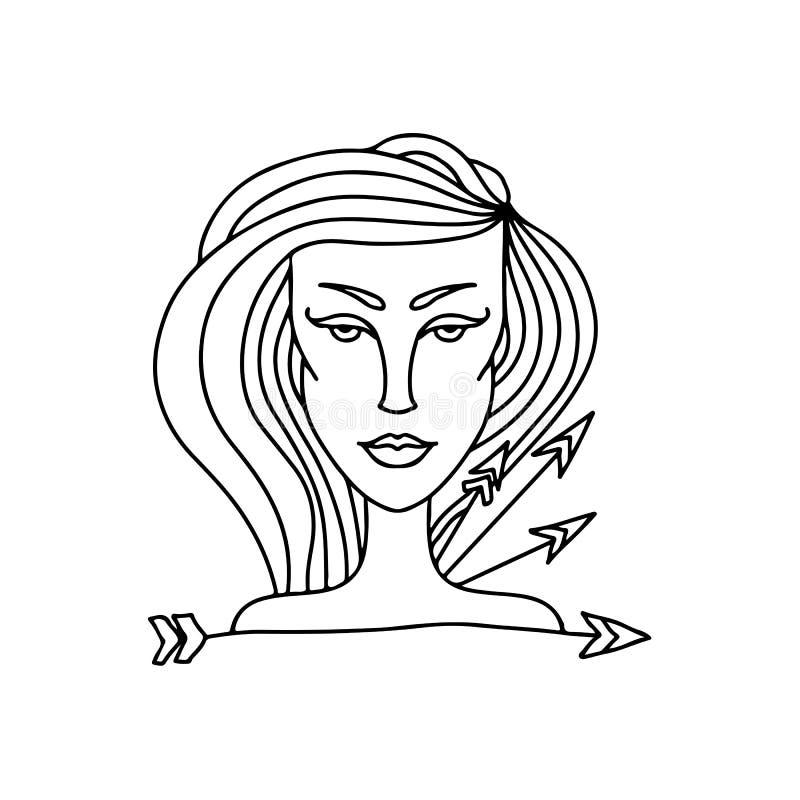 Sagittarius dziewczyny portret Zodiaka znak dla dorosłej kolorystyki książki Prosta czarny i biały wektorowa ilustracja royalty ilustracja
