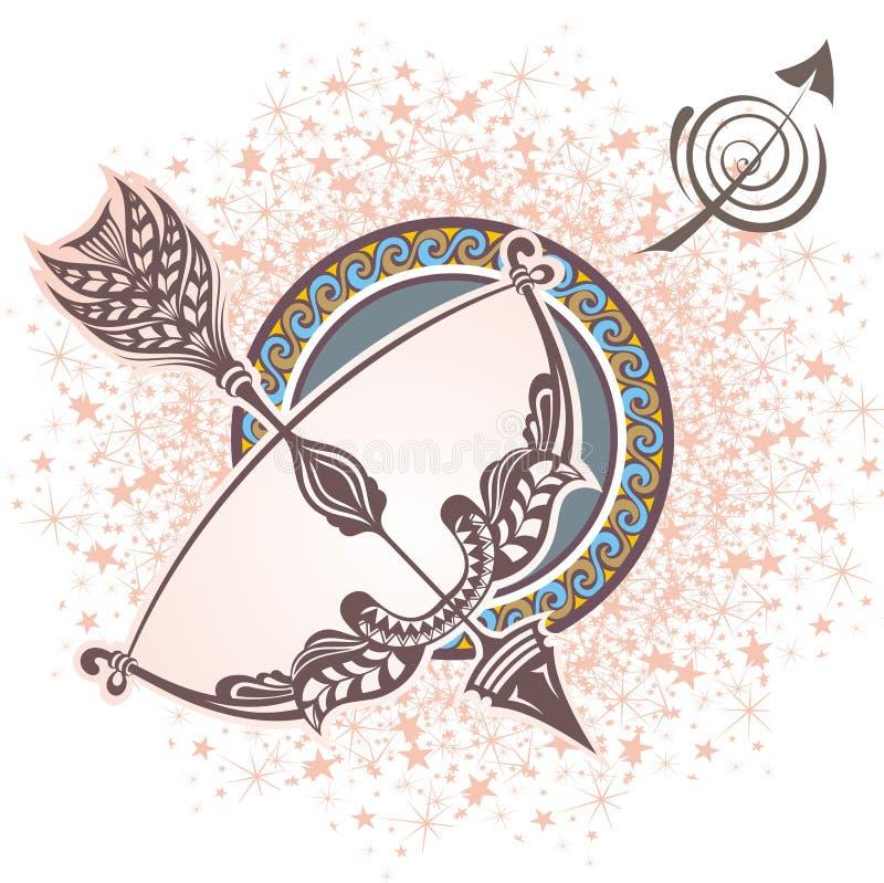 sagittarius grafika projekta znaka symboli/lów dwanaście różnorodny zodiak royalty ilustracja