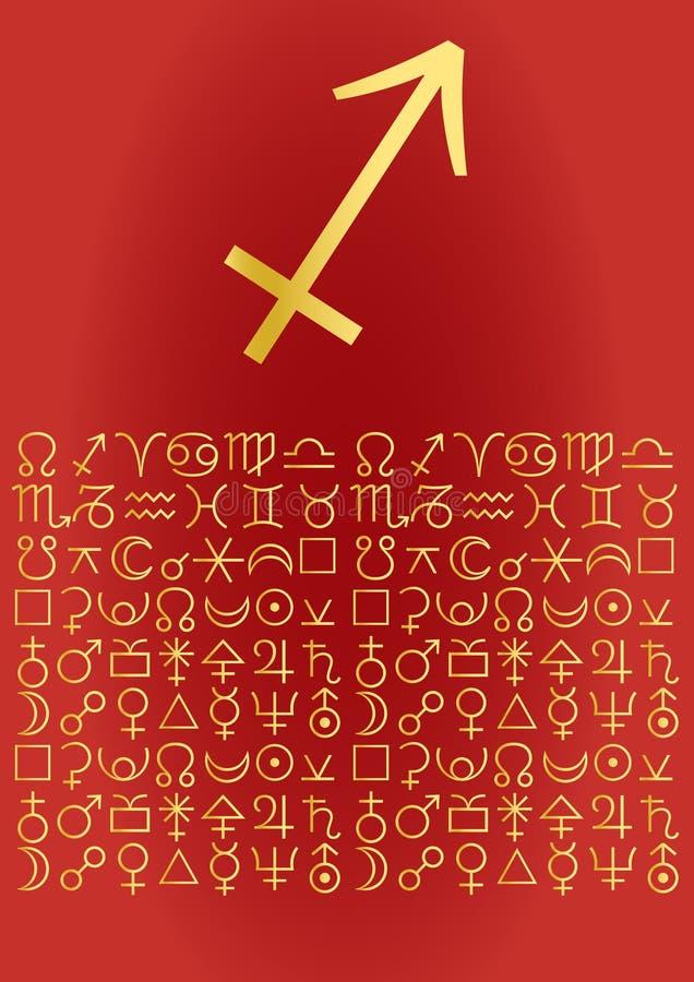 Sagittarius greeting card stock illustration