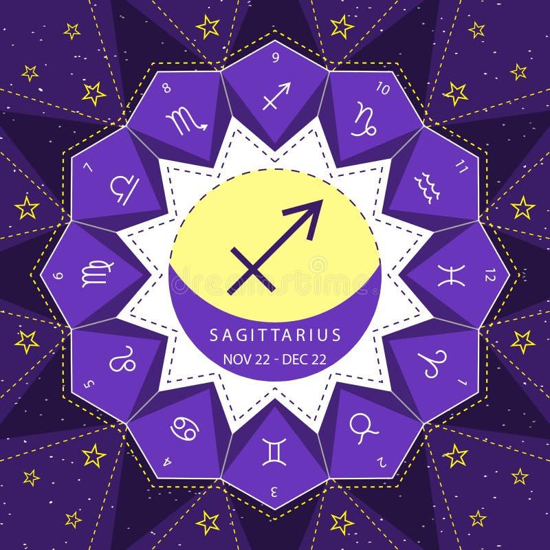 sagittarius I segni dello zodiaco descrivono il vettore di stile fissato sul fondo del cielo della stella illustrazione di stock